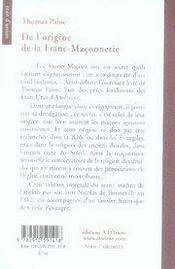 De l'origine de la franc-maçonnerie - 4ème de couverture - Format classique