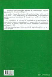 Cours De Pharmacologie 3e Edition - 4ème de couverture - Format classique