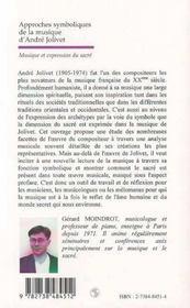 Approches symboliques de la musique d'Andra Jolivet ; musique et expression du sacré - 4ème de couverture - Format classique