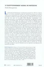 Le Questionnement Moral De Nietzsche - 4ème de couverture - Format classique