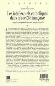 Intellectuels Catholiques Dans La Societe Francaise - 4ème de couverture - Format classique