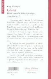 Laicite. Pierre Angulaire De La Republique - 4ème de couverture - Format classique