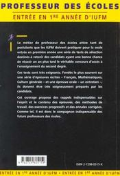 Les Tests D'Entree En 1re Annee D'Iufm Ecrit Et Oral Francais Culture Generale Mathematiques - 4ème de couverture - Format classique