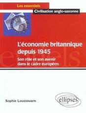 L'Economie Britannique Depuis 1945 Son Role Et Son Avenir Dans Le Cadre Europeen - Intérieur - Format classique