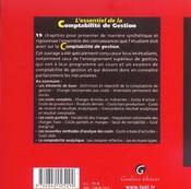 Essentiel de la comptabilite de gestion 2e ed. (l') (2e édition) - 4ème de couverture - Format classique
