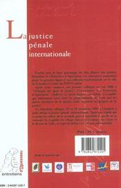 La Justice Penale Internationale. Colloque De Limoges, 22 Et 23 Nov. 2001, Place Sous Le Haut Patro - 4ème de couverture - Format classique