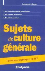 Sujets de culture generale categorie a et b ; fonction publique et iep - Intérieur - Format classique