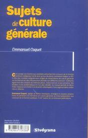 Sujets de culture generale categorie a et b ; fonction publique et iep - 4ème de couverture - Format classique