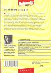 Metiers De La Psy - 4ème de couverture - Format classique