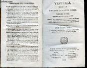 Vesperal Romain Pour Tous Les Jours De L'Annee. Nouvelle Edition Conforme A Celle In-Folio De 1815 - Couverture - Format classique