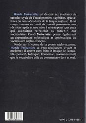 Words Universites Mediascopie Du Vocabulaire Anglais - 4ème de couverture - Format classique