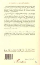 Spinoza Et La Pensee Moderne, Constitutions De L'Objectivite - 4ème de couverture - Format classique