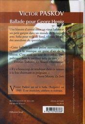 Ballade pour Georg Henig - 4ème de couverture - Format classique