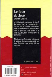 Le Fado De Jose - 4ème de couverture - Format classique