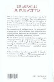 Miracles Du Pape Wojtyla - 4ème de couverture - Format classique