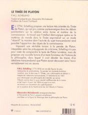 Le Timee De Platon - 4ème de couverture - Format classique