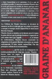 Maurice Joyeux ; Graine D'Ananar - 4ème de couverture - Format classique