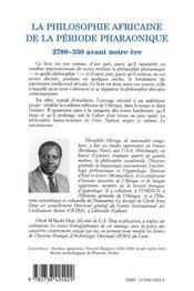 Philosophie africaine de la période pharaonique - 4ème de couverture - Format classique