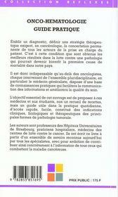 Onco Hematologie Guide Pratique - 4ème de couverture - Format classique