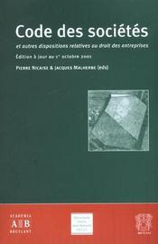 Code Des Societes ; Et Autres Dispositions Relatives Au Droit Des Entreprises ; Edition D'Octobre 2001 - Intérieur - Format classique