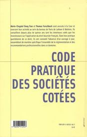 Code pratique des sociétés côtées - 4ème de couverture - Format classique