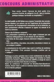 Le Droit Public En 90 Fiches Les Mementos Concours Administratifs Lexique Juridique - 4ème de couverture - Format classique