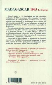 Madagascar 1995 ; Le Marais - 4ème de couverture - Format classique
