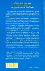 La Connaissance Du Parlement Ivoirien - 4ème de couverture - Format classique