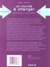 Un monde à changer ; mouvements et stratégies - 4ème de couverture - Format classique