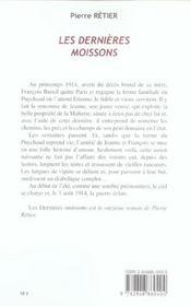 Les Dernieres Moissons - 4ème de couverture - Format classique