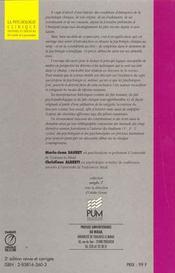 La Psychologie Clinique Histoire Et Discours De L Interet De La Psychanalyse - 4ème de couverture - Format classique