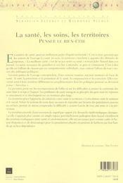Sante Les Soins Le Territoire - 4ème de couverture - Format classique