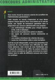 Surveillant De L'Administration Penitentiaire Categorie C Concours Externe Administratifs - 4ème de couverture - Format classique
