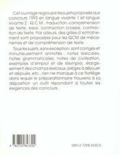 Corriges Commentes Des Epreuves D'Anglais Aux Concours Des Grandes Ecoles De Commerce 1993-1994 - 4ème de couverture - Format classique