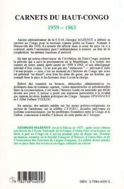 Carnets Du Haut-Congo, 1959-1963 - 4ème de couverture - Format classique