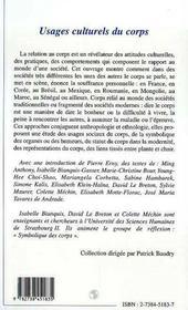 Usages Culturels Du Corps - 4ème de couverture - Format classique