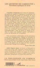 Les Archives De L'Ambiguite T.1 ; Formations Mythiques De Savoir - 4ème de couverture - Format classique