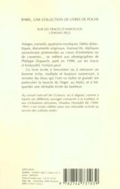 Sur Les Traces D'Amkoullei L'Enfant Peul - 4ème de couverture - Format classique
