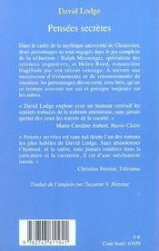 Pensees Secretes-1ere Ed - 4ème de couverture - Format classique