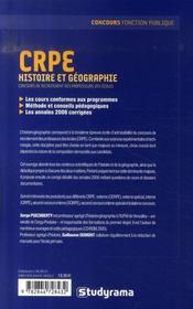 Crpe ; Histoire Et Geographie - 4ème de couverture - Format classique