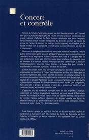 Concert et contrôle ; plaidoyer en faveur d'une reconnaissance de l'action de concert par le droit commun des sociétés - 4ème de couverture - Format classique