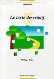 Le texte descriptif, francais 5e - Couverture - Format classique