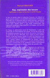 Rap Expressions Des Lascarssignifications Et Enjeux Du - 4ème de couverture - Format classique