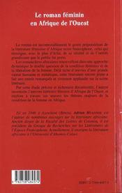 Le Roman Feminin En Afrique De L'Ouest - 4ème de couverture - Format classique