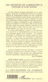Les Archives De L'Ambiguite T.2 ; Archeologie Du Savoir Cannibale - 4ème de couverture - Format classique