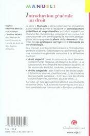 Manuel Introduction Au Droit Et Droit Civil, 1ere Edition - 4ème de couverture - Format classique