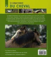 Le comportement du cheval - 4ème de couverture - Format classique
