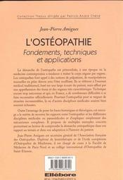 Osteopathie - Ed. Ellebore - 4ème de couverture - Format classique