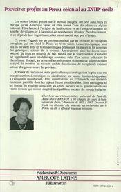 Pouvoir Et Profits Au Peroucolonial Au Xviiie Siecle.. - 4ème de couverture - Format classique