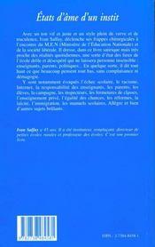 Etats D'Ame D'Un Instit - 4ème de couverture - Format classique